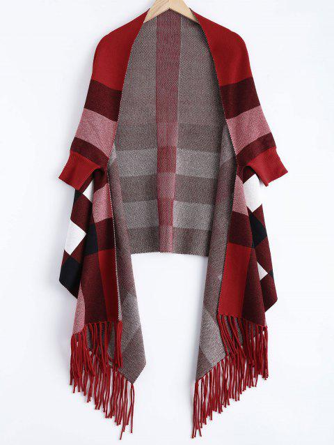 Plaid Asymmetric Tassel Cape - WINE RED ONE SIZE