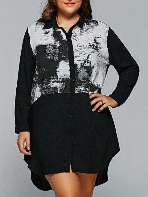 8cb256e98f7f 17% OFF] 2019 Loose Ink-Painting Asymmetric Shirt Dress In BLACK ONE ...