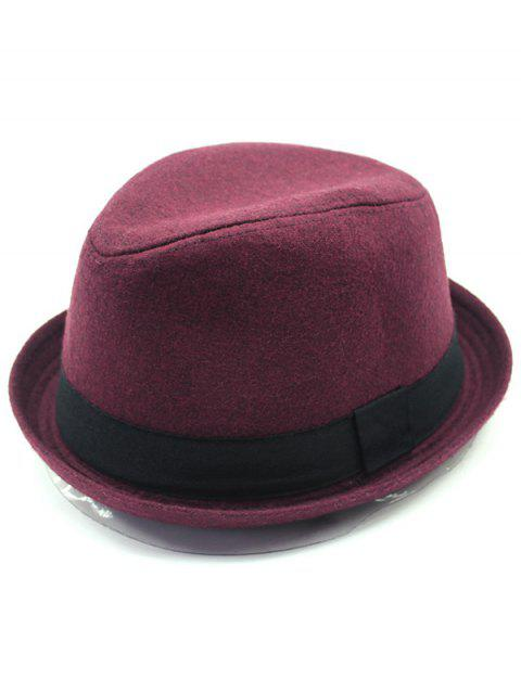 Vintage Wool Embellished Flanging Fedora Hat - DARK RED