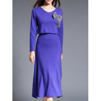 Slimming Bowknot Design Two Piece Dress - BLUE BLUE