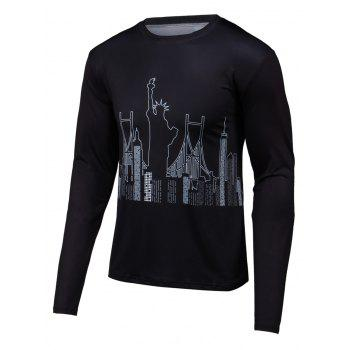 Round Neck Long Sleeve 3D Building Print T-Shirt
