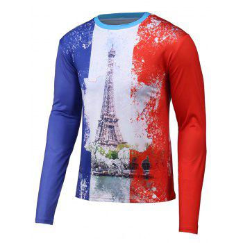 Long Sleeve Color Splicing 3D Tower Print T-Shirt