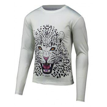 Long Sleeve Leopard 3D Print Round Neck T-Shirt