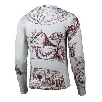 Round Neck Long Sleeve Hand-painted 3D Printed T-Shirt - GRAY XL
