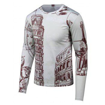 Round Neck Long Sleeve Hand-painted 3D Printed T-Shirt