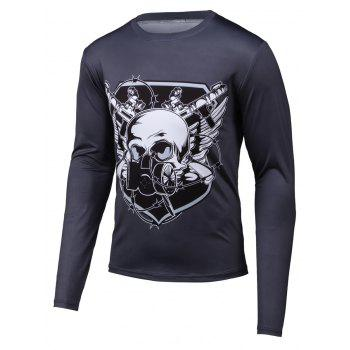 Round Neck Long Sleeve Skull 3D Printed T-Shirt