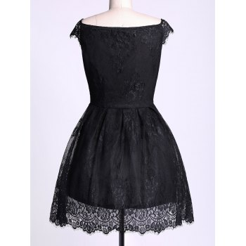 Lace Insert Mini A Line Party Dress - BLACK XL