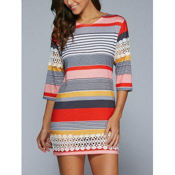 Buy 3/4 Sleeve Striped Lace Spliced Mini Shift Dress COLORMIX
