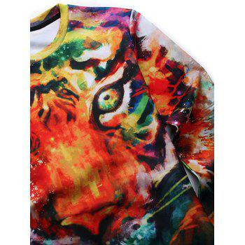 Round Neck 3D Animal Print Long Sleeves Sweatshirt - COLORMIX M