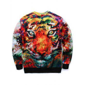 Round Neck 3D Animal Print Long Sleeves Sweatshirt - COLORMIX S
