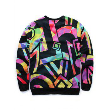 Long Sleeve 3D Figure Print Round Neck Sweatshirt - COLORMIX L