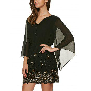 V Neck 3/4 Sleeve Rhinestone Dress