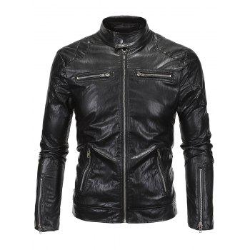 Stand Collar Zippered Spliced Faux Leather Jacket