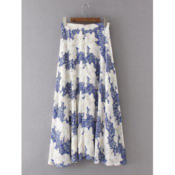 High Waist Zippered Floral Print Chiffon Skirt