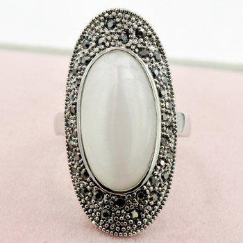 Oval Faux Opal Rhinestone Ring