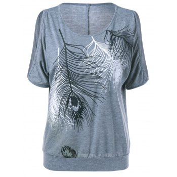 Cold Shoulder Feather Print Tee
