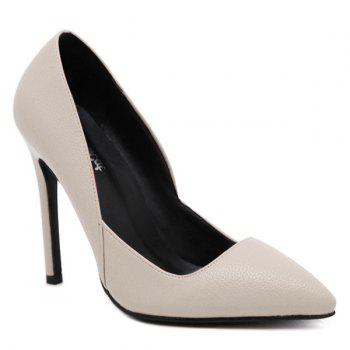 Pointed Toe Stiletto Heel PU Leather Pumps