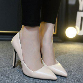 Pointed Toe Stiletto Heel PU Leather Pumps - APRICOT 38