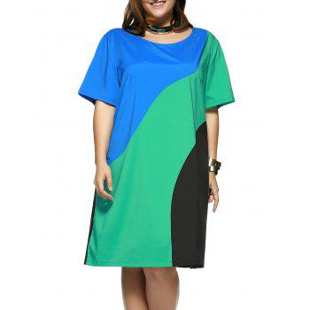 Plus Size Color Block Women's Shift Dress