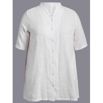 Plus Size Vertical Pocket Shirt - WHITE WHITE