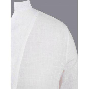Plus Size Vertical Pocket Shirt - WHITE XL