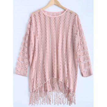 Crochet High Low Fringe Batwing Knitwear