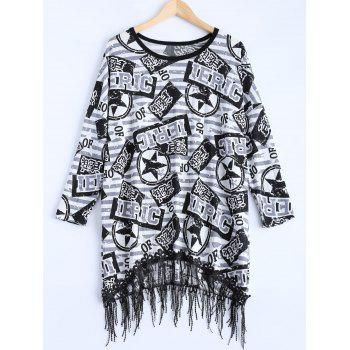 Star Letter Asymmetric Fringed Sweater Dress