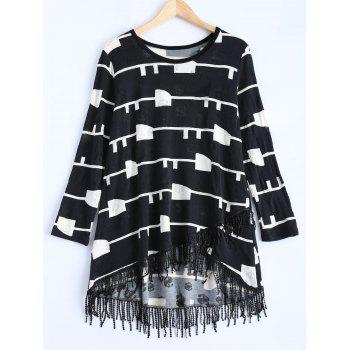 Geometric Pattern Asymmetric Fringed Sweater Dress