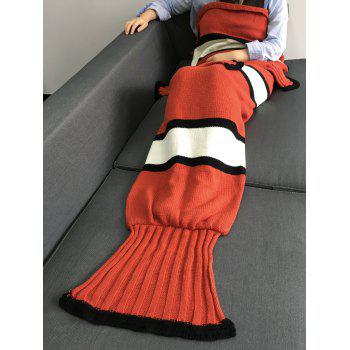 Warmth Color Block Knitting Fish Tail Shape with Fins Design Blanket