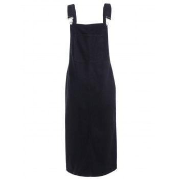Back Slit Denim Midi Dress