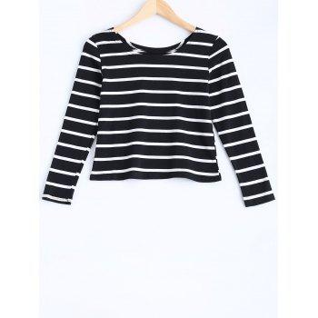 Long Sleeve Stripe Fit Crop Top