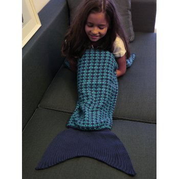 Crochet Knitting Stripe Pattern Kid's Fish Tail Design Blanket -  DEEP BLUE