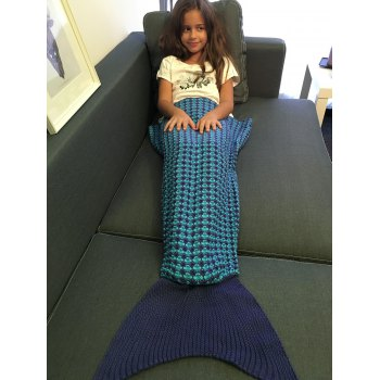 Crochet Knitting Stripe Pattern Kid's Fish Tail Design Blanket - DEEP BLUE DEEP BLUE