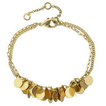 Layered Alloy Sequins Chain Bracelet