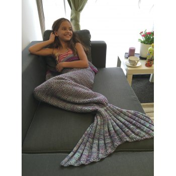 Creative Multi-Colored Knitted Mermaid Tail Design Blanket For Kid - COLORMIX