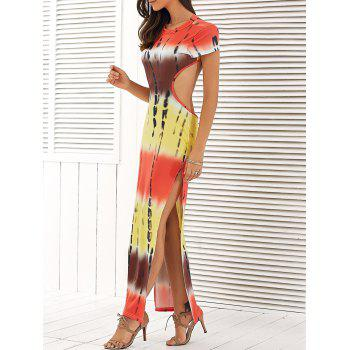 Color Block Backless High Slit Maxi Dress