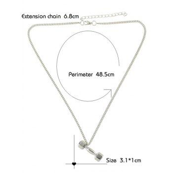 Alloy Barbell Shape Pendant Necklace - SILVER