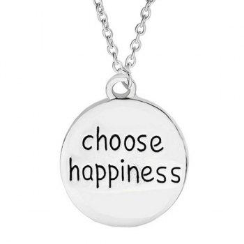 Choose Happiness Engraved Round Necklace