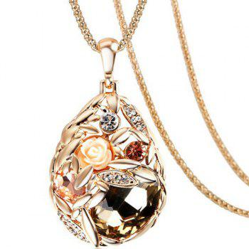 Rhinestone Faux Crystal Rose Water Drop Necklace