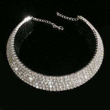 Rhinestoned Alloy Wedding Jewelry Choker Necklace