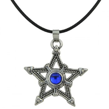 Faux Leather Rope Pentagram Rhinestone Necklace