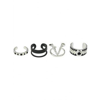Punk Alloy Rhinestone V-Shaped Cuff Rings