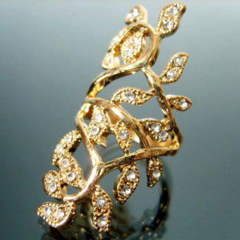 Leaf Rhinestone Hollow Out Ring