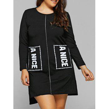 Letter Applique Pockets Asymmetrical T-Shirt Dress