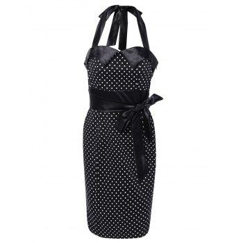 Halter Bowknot Polka Dot Pencil Dress