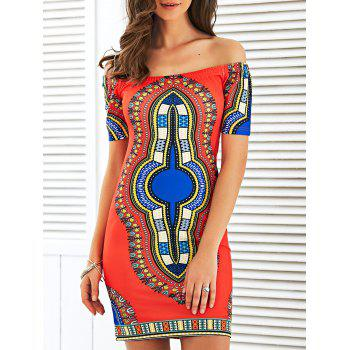 Off The Shoulder Totem Print Bodycon Dress