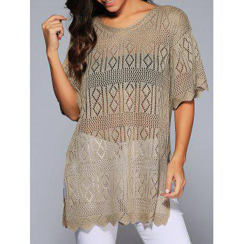Scalloped Hem Crochet V Neck Knitwear