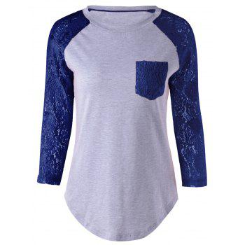Plus Size Single Pocket Lace Splicing T-Shirt