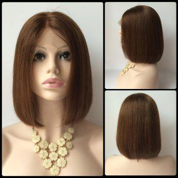 Short Straight Side Parting Lace Front Real Natural Hair Bob Haircut Wig