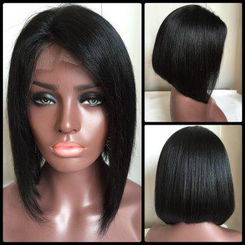 Medium Straight Side Parting Lace Front Real Natural Hair Bob Haircut Wig